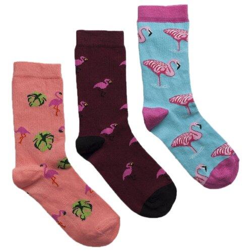 Носки Lunarable Фламинго, 3 пары, размер 35-39, розовый/бордовый/голубой