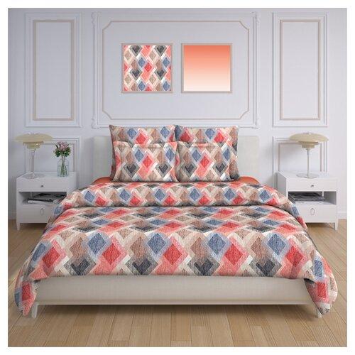 Постельное белье 1.5-спальное Трехгорная мануфактура Арлекин УТ-00017670 перкаль бежевый/красный/синий/коричневыйКомплекты<br>