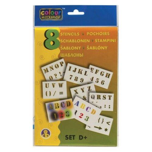 Набор трафаретов centropen для рисования воздушными фломастерами D+ Буквы и цифры