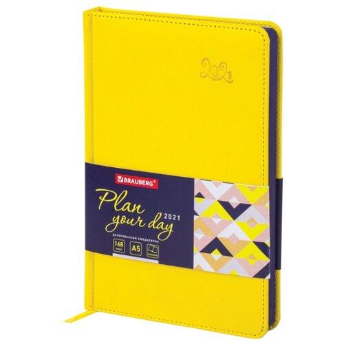 Купить Ежедневник BRAUBERG Rainbow датированный на 2021 год, искусственная кожа, А5, 168 листов, желтый, Ежедневники, записные книжки