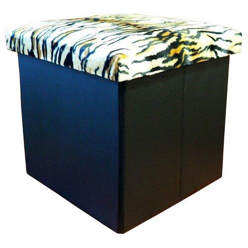 Пуфик с ящиком для хранения Тематика складной, текстиль, искусственная кожа тигр/черный пуфик с ящиком для хранения удачная покупка ryp56 38 искусственная кожа черный