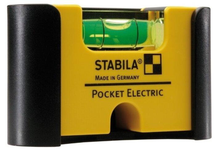 Уровень брусковый 1 глаз. Stabila Pocket Electric (с зажимом для крепления к ремню) 7 см