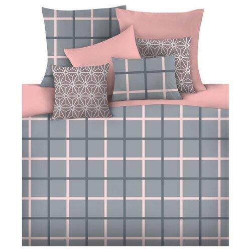 цена Постельное белье 2-спальное Mona Liza Mark 50 х 70 см сатин серый/розовый онлайн в 2017 году