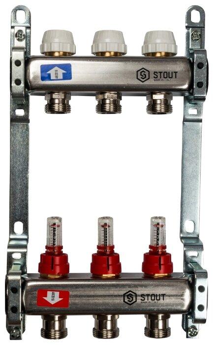 """Коллекторная группа STOUT (SMS 0917 000003) 1"""" ВР, 3 отвода 3/4"""", расходомер"""