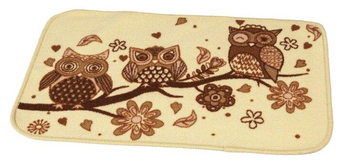 Придверный коврик RemiLing Совы 2, размер: 0.57х0.4 м, бежевый/коричневый