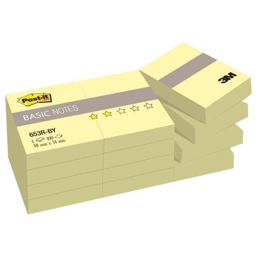 Купить Post-it набор блоков Basic 38х51 мм, 100 листов, 12 штук (653R-BY) канареечно-желтый, Бумага для заметок