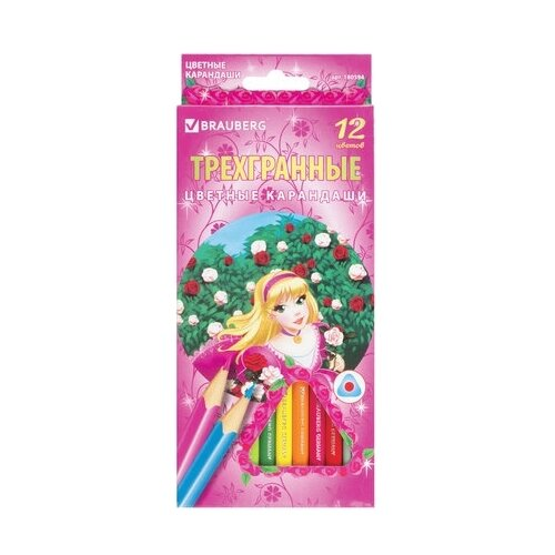Купить BRAUBERG Карандаши цветные Rose Angel 12 цветов (180594), Цветные карандаши