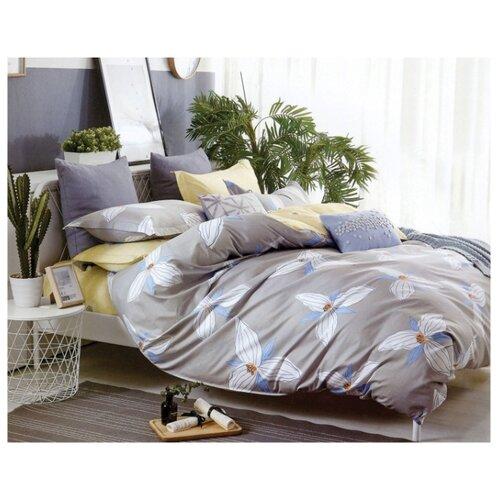 Постельное белье 1.5-спальное Sulyan Свежесть сатин, 70 х 70 см серый / желтый