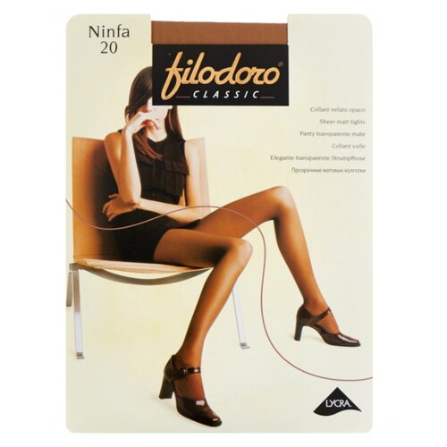Колготки Filodoro Classic Ninfa 20 den, размер 3-M, playa (бежевый) колготки filodoro classic ninfa 40 den размер 5 xl playa бежевый