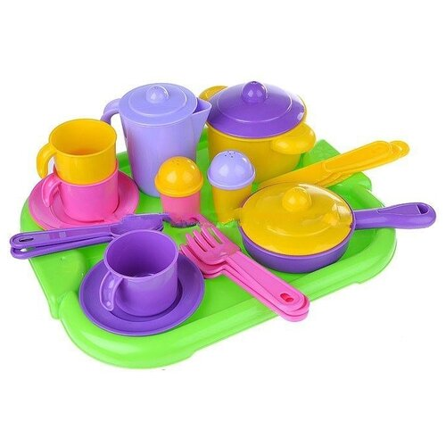 Купить Набор посуды Полесье Настенька с подносом на 3 персоны 3957, Игрушечная еда и посуда