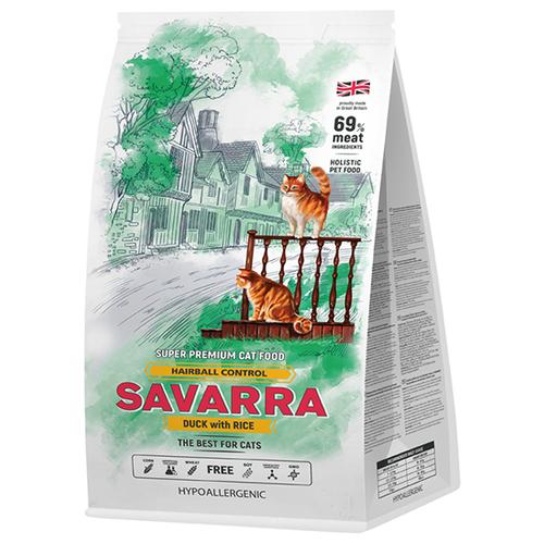 Корм для кошек SAVARRA для вывода шерсти, с уткой и с рисом 2 кг