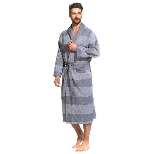 Легкий мужской халат из органического хлопка Pur Organique (PM France 417) размер 2XL (52-54), серый комбинированный