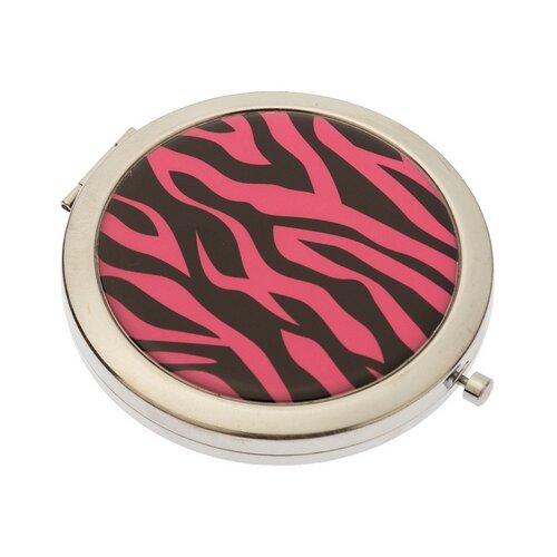 Купить Зеркало косметическое карманное Dewal Beauty Дикая природа розовый тигр