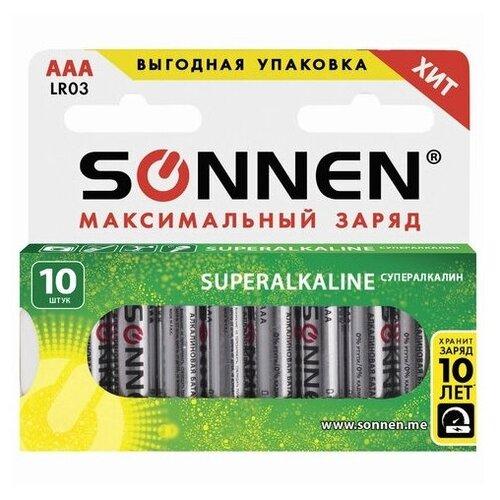 Фото - Батарейка SONNEN AAA LR03 максимальный заряд, 10 шт. батарейка sonnen cr2032 1 шт блистер
