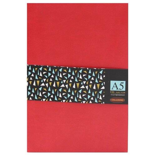 Купить Ежедневник Collezione Колор-2недатированный, искусственная кожа, А5, 136 листов, красный/черный срез, Ежедневники, записные книжки