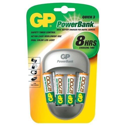 цена на Аккумулятор Ni-Mh 2700 мА·ч GP Rechargeable 2700 Series AA + Зарядное устройство PowerBank 4 шт блистер