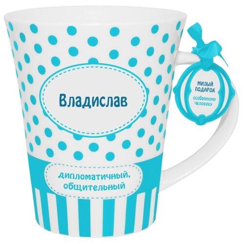 BE HAPPY Кружка Владислав 350 мл белый/голубой