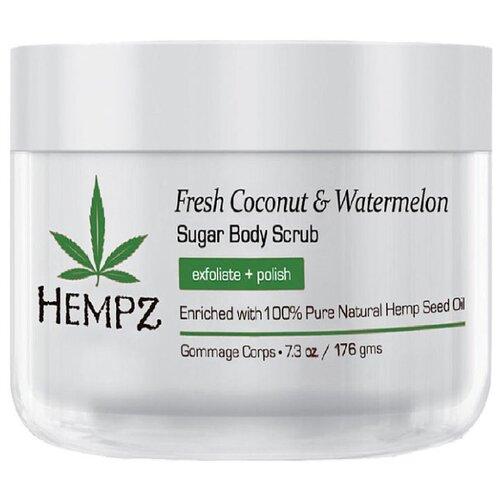 Hempz Скраб для тела Fresh coconut & watermelon, 176 г hempz triple moisture herbal whipped creme body scrub скраб для тела тройное увлажнение 176 гр