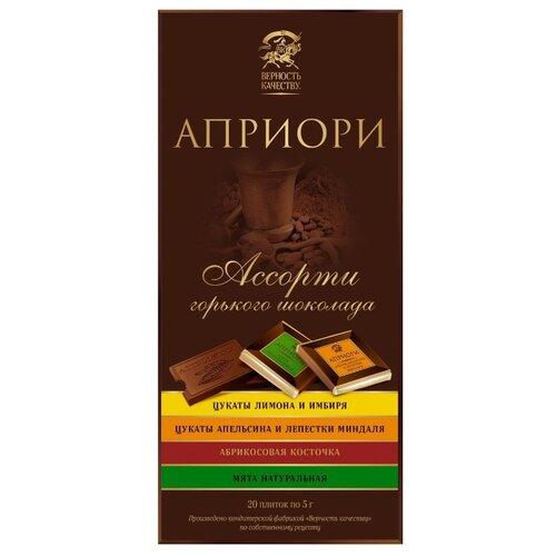 Шоколад Априори Ассорти горький с цукатами и орехами порционный, 100 г