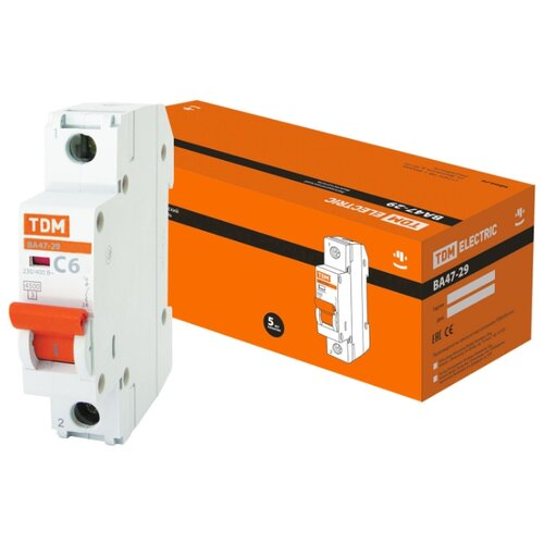 Автоматический выключатель TDM ЕLECTRIC ВА 47-29 1P (C) 4,5kA 6 А автоматический выключатель tdm еlectric пар 1p 4 5 ka 25 а