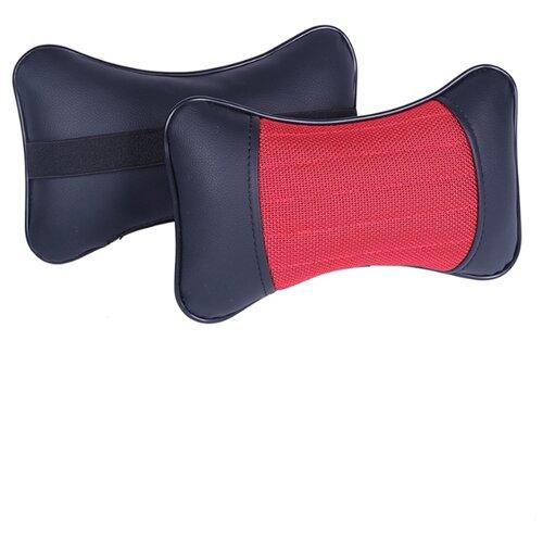 Комплект автомобильных подушек под шею (Sector, черный/красный/черный, 2 штуки)