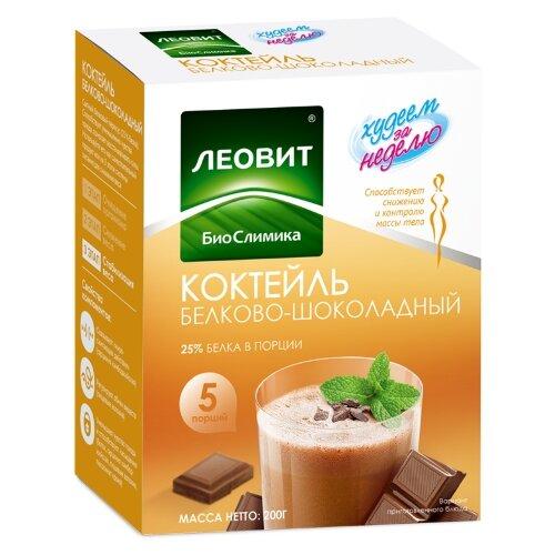 ЛЕОВИТ Худеем за неделю Коктейль белково-шоколадный порционный, 5 шт. в упаковке, 40 г капучино для похудения худеем за неделю состав