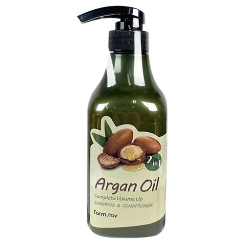 Farmstay шампунь-кондиционер Argan Oil Complete Volume Up Shampoo & Conditioner, 530 мл