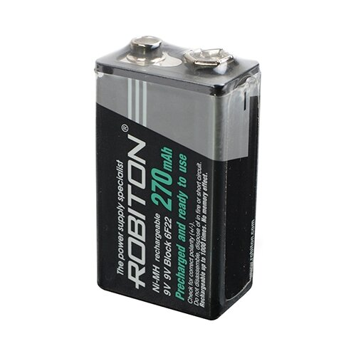 Фото - Аккумулятор Ni-Mh 270 мА·ч ROBITON 9V Крона 6F22 270, 1 шт. аккумулятор ni mh 200 ма·ч robiton 9v крона 6f22 200 1 шт