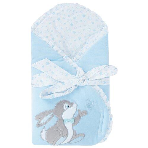 Купить Конверт-одеяло Leader Kids Зайка с бабочкой голубой, Конверты и спальные мешки