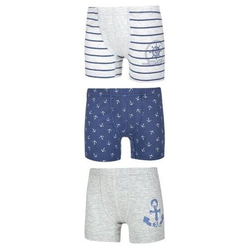 Купить Трусы BAYKAR 3 шт., размер 98/104, белый/серый/синий, Белье и пляжная мода