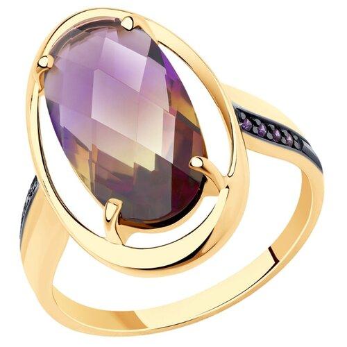 SOKOLOV Кольцо из золота с ситалом синтетическим и фианитами 715998, размер 17.5