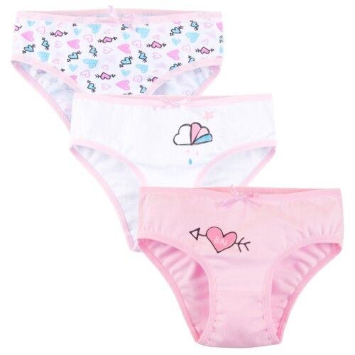 Купить Трусы Bossa Nova размер 28, белый/розовый/розовые сердечки, Белье