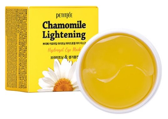 Гидрогелевые осветляющие патчи для глаз Petitfee Chamomile Lightening Hydrogel Eye Mask, 60шт
