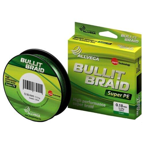 Плетеный шнур ALLVEGA BULLIT BRAID dark green 0.18 мм 135 м 12.2 кг