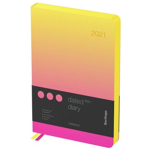 Ежедневник Berlingo Radiance датированный на 2021 год, искусственная кожа, А5, 184 листов, розовый/желтый ежедневник brauberg senator датированный на 2021 год искусственная кожа а5 168 листов черный