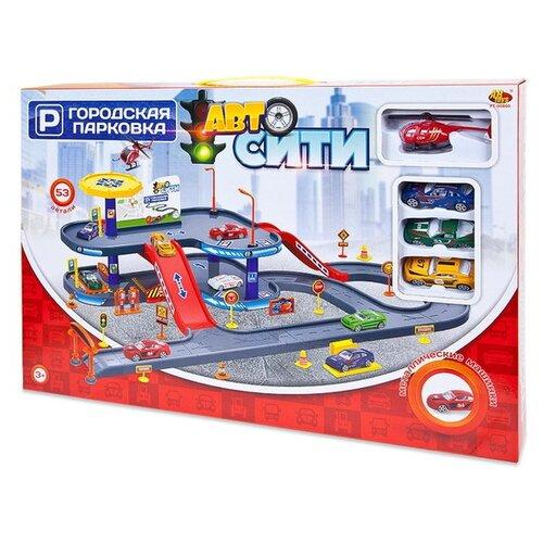 Купить ABtoys Авто Сити: Городская парковка, 53 предмета PT-00860 желтый/синий/красный/серый, Детские парковки и гаражи