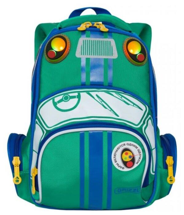 Рюкзак школьный Grizzly (240x290x110мм) 1 отделение, 3 кармана, уплотненная спинка, синий-красный (RS-992-1/4)