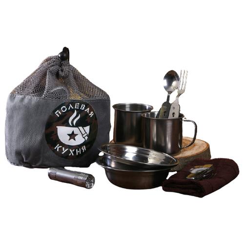 Набор туристической посуды Komandor Полевая кухня 3503608, 8 шт. серый