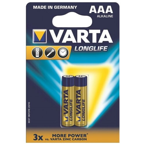 Батарейка VARTA LONGLIFE AAA 2 шт блистер батарейка varta longlife power 3lr12 1 шт блистер