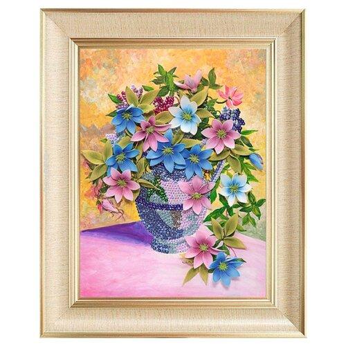 Купить Волшебная Мастерская Мозаика из пайеток на холсте Клематисы МХ-07, Картины из пайеток