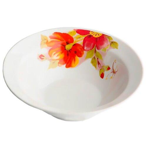 Дулёвский фарфор Миска круглая Альпийские цветы красные 300 мл белыйБлюда и салатники<br>