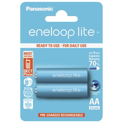 Аккумулятор Ni-Mh 950 мА·ч Panasonic eneloop lite AA, 2 шт. аккумулятор ni mh 550 ма·ч panasonic eneloop lite dect aaa 3 шт блистер