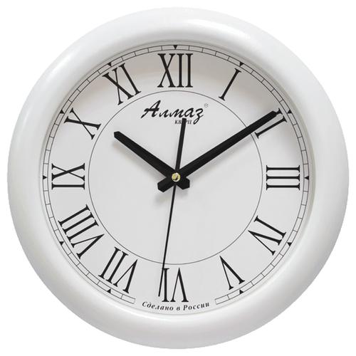 Часы настенные кварцевые Алмаз H04 белый