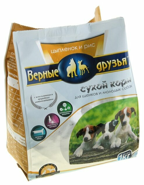 Корм для собак Верные друзья Сухой для щенков - Цыпленок и рис (1 кг)