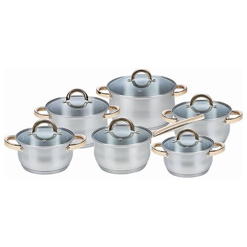 Набор посуды Maestro MR 2106 12 пр. серебристый / золотой