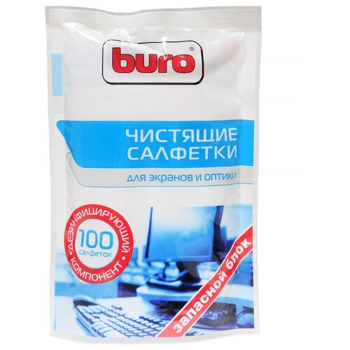 Фото - Buro BU-Zscreen влажные салфетки 100 шт. для экрана, для оптики чистящее средство buro bu smark для очистки маркерных досок 250мл
