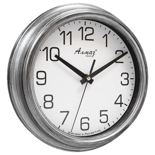 Часы настенные кварцевые Алмаз C11/C12 белый/сереброЧасы настенные<br>