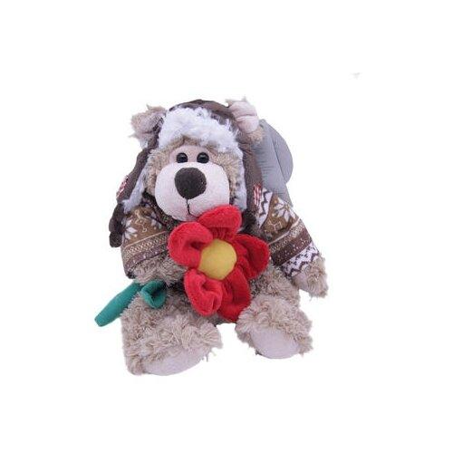 Купить Мягкая игрушка Magic Bear Toys Мишка Рэймонд в шапке-ушанке и свитере с цветком 20 см, Мягкие игрушки