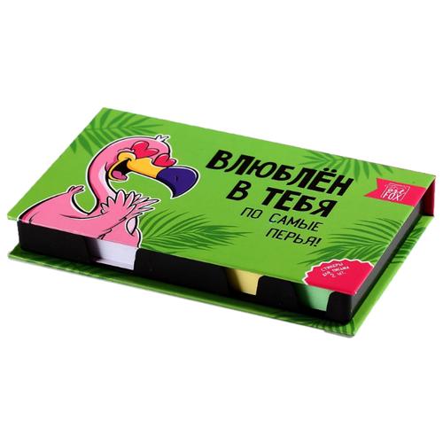 Купить ArtFox бумажный блок в пластиковом футляре Фламинго 100 листов + 2 стикера (4632583) зеленый/белый/розовый, Бумага для заметок
