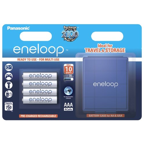 Аккумулятор Ni-Mh 750 мА·ч Panasonic eneloop AAA + кейс, 4 шт. аккумулятор ni mh 550 ма·ч panasonic eneloop lite dect aaa 3 шт блистер